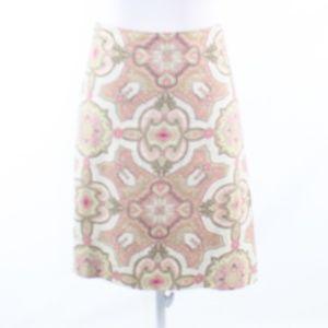 Talbots pink cotton green paisley A-line skirt 18